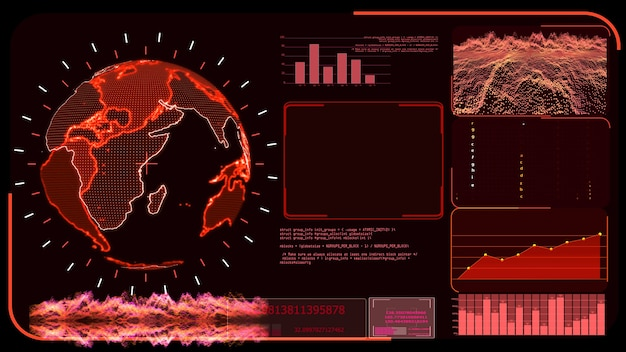 Red monitor digital global world map and technology research develpoment analysis program
