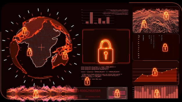 Red monitor digital global world map and technology research develpoment analysis to protect ransomware