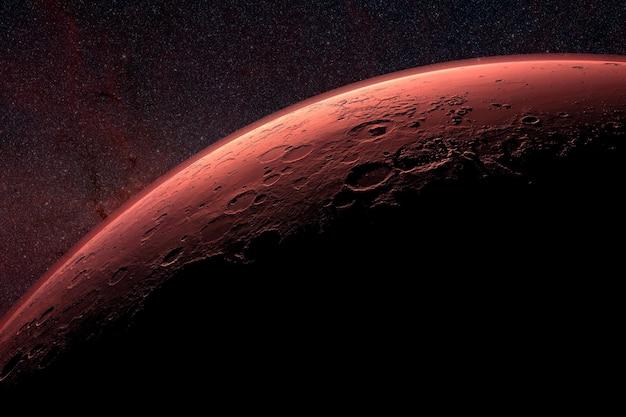 Красная луна в лучах заката. элементы этого изображения были предоставлены наса. для любых целей.