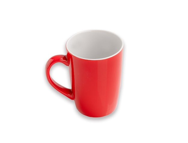 Red mug for hot drink with clipping path.  coffee cup
