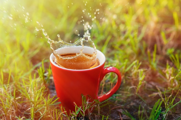 Red mug of tea on a background of grass in the park