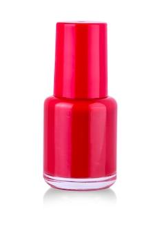 흰색 바탕에 빨간 매니큐어 병입니다.
