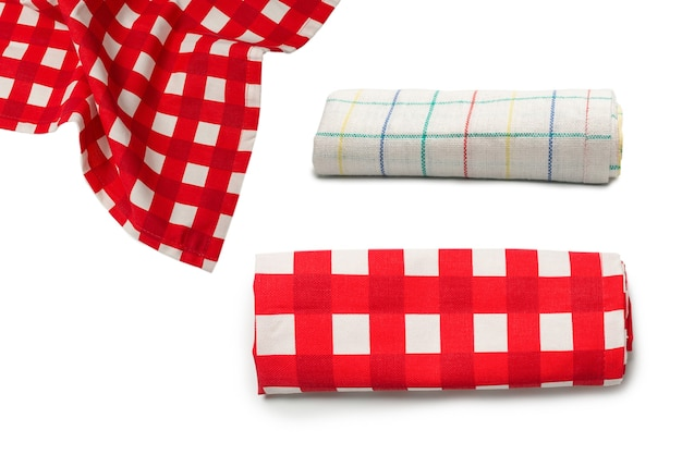 Red napkin isolated on white background. copy space.