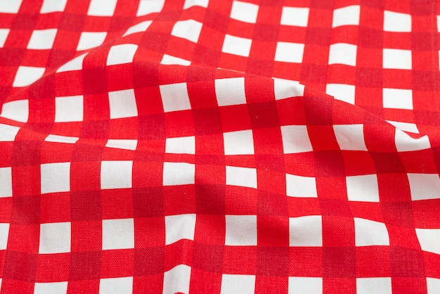 Red napkin isolated on white surface
