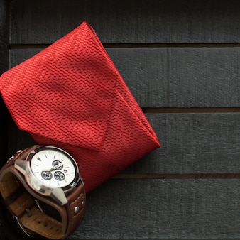 Red necktie and watch for father's day