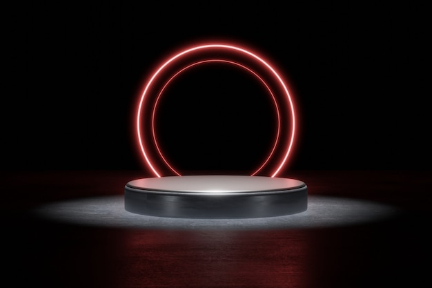 Red neon light product background stage or podium pedestal on grunge street floor with glow spot