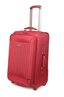 Red new suitcase  isolated on the white background