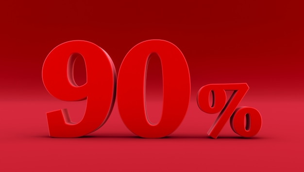 Red ninety percent on a red background. 3d render. 90%