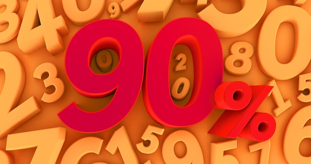Red ninety percent on a yellow background with numbers. 3d render. 90%