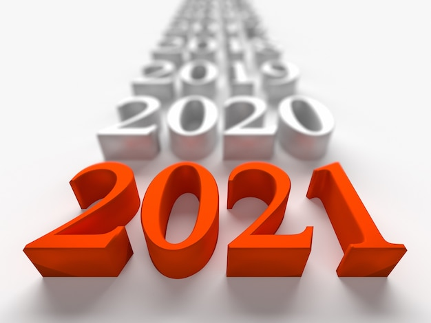 Red number of new 2021 year near old years. 3d rendering