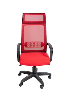 Red office fabric armchair on wheels isolated  , front view. modern furniture, interior, home design