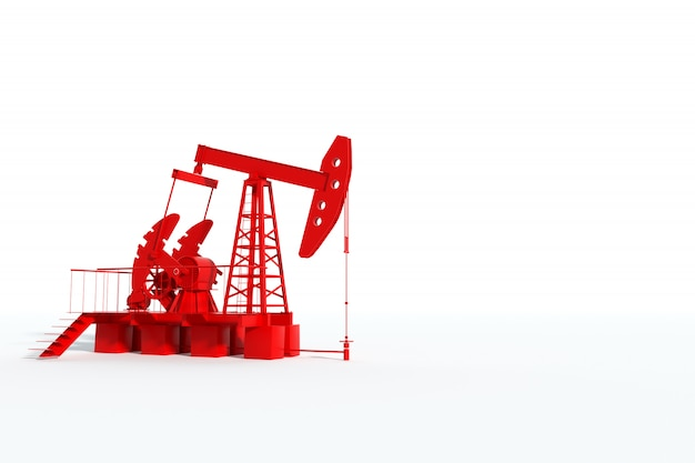 Red oil pump on a white wall, oil rig industrial oil production, oil prices. technology concept, fossil energy sources, hydrocarbons. copy space, 3d illustration, 3d render.