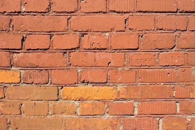 Красная старая кирпичная стена. кирпичная стена фон