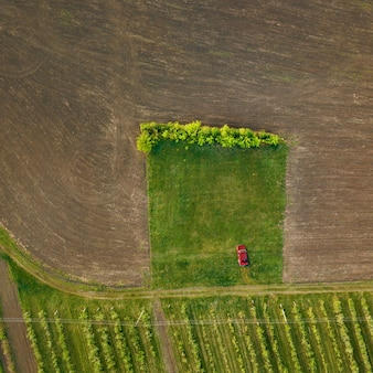 The red old car stands on a green road section near the treated field, ready for planting. the top view is shot by drones. nature background with car.