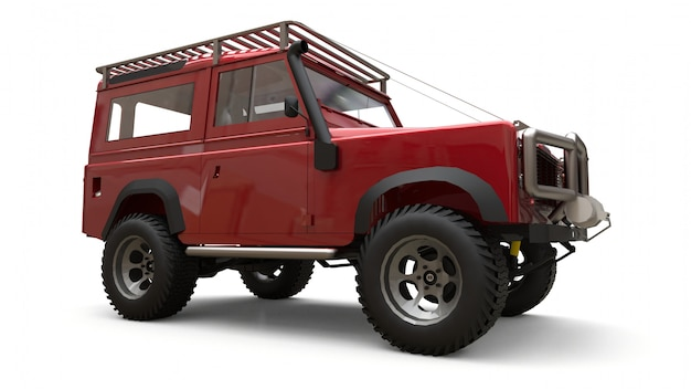 Red old small suv tuned for difficult routes and expeditions