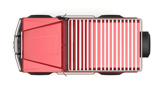 어려운 경로와 탐험을 위해 조정 된 빨간색 오래된 소형 suv. 3d 렌더링.