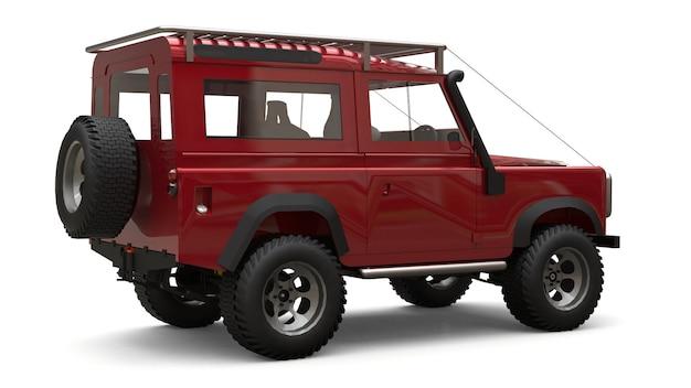難しいルートや遠征用に調整された赤い古い小型suv。 3dレンダリング。