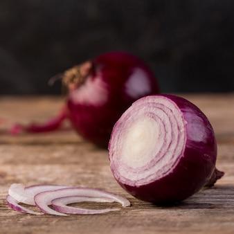 Red onion arrangement close-up