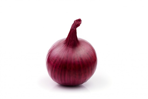 Red onion bulb isolated on white cutout