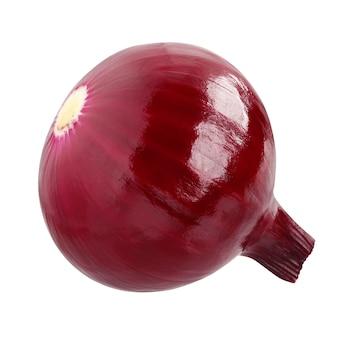 白地に分離された赤玉ねぎ。 1つの丸ごと野菜。