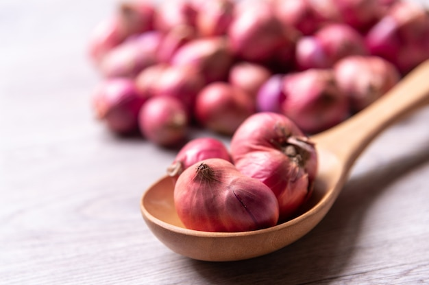 Red onion, shallot in wooden spoon