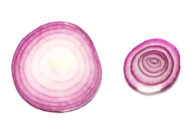 Red onions isolated on white background, top view.