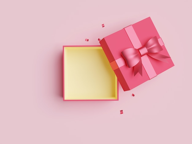 Red open gift box with ribbon