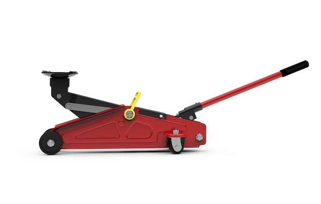 Red open hydraulic floor jack isolated