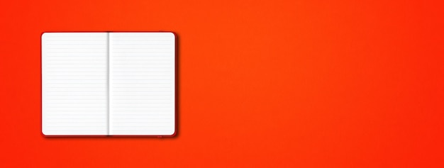 Red open lined notebook mockup isolated on colorful background. horizontal banner
