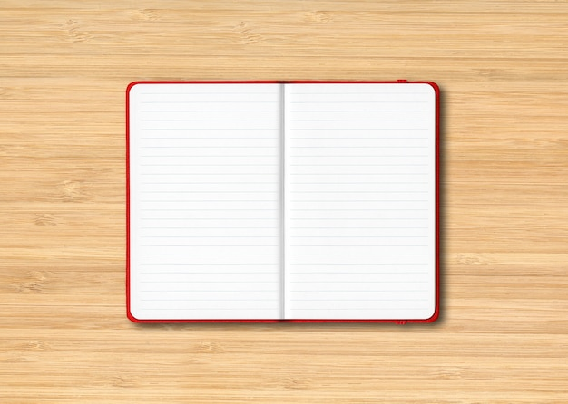 Red open lined notebook mockup isolated on wooden