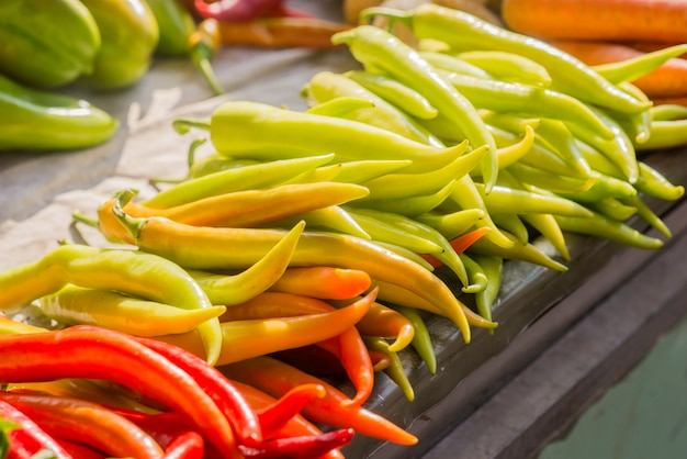 レッドオレンジとグリーンチリペッパー。バナナ・ペッパー、パプリカ、ガーデン・ペッパー、チリ・プラント、レッド・ペッパー、スペイン・ペッパー、スイート・ペッパー