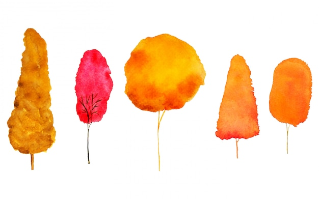 クリッピングパスと赤オレンジ色の秋の木の水彩画