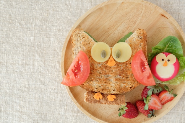 Red owl lunch plate, fun food art for kids