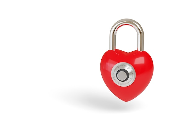Red padlock with heart shape and combination lock isolated on white background.