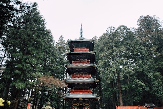 Red pagoda in raining