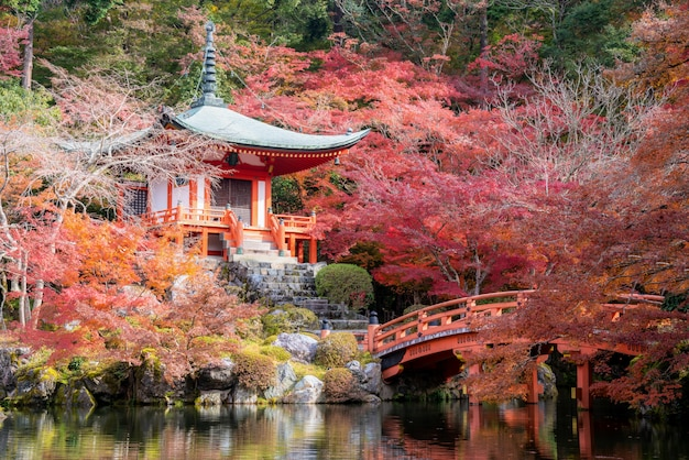 Red pagoda and red bridge with pond and color change maple trees in daigoji temple in autumn season on november in kyoto, japan.