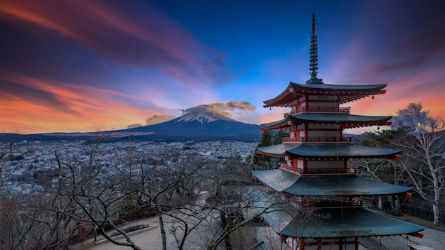 Red pagoda with view of mountain fuji