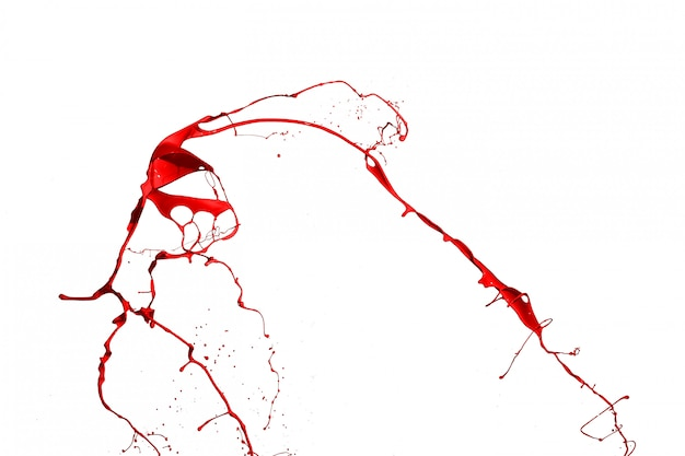 Red paint splash isolated on white background.