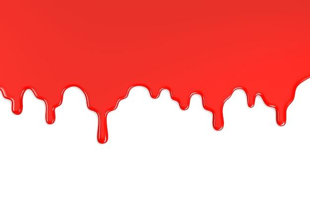 白い背景に分離された赤いペンキの染み。