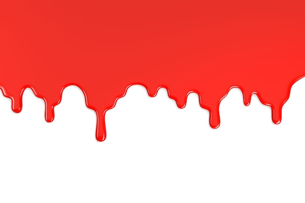 Red paint stain isolated on white background.
