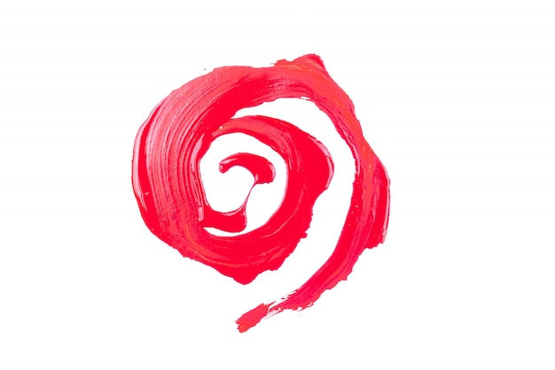 Red paint on white background