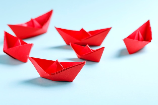 Red paper boats