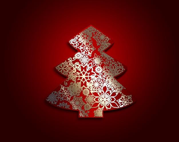 Красная бумажная новогодняя елка со снежинками