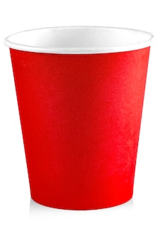 Red paper cup isolated on white