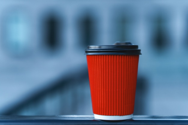 Red paper cup with brown cap  mockup sample template.