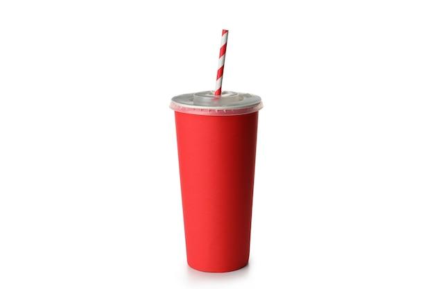 빨 대 흰색 배경에 고립 된 빨간 종이 컵.