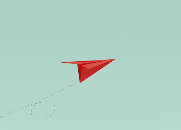 Red paper flying on blue background for running business by 3d rendering technique.