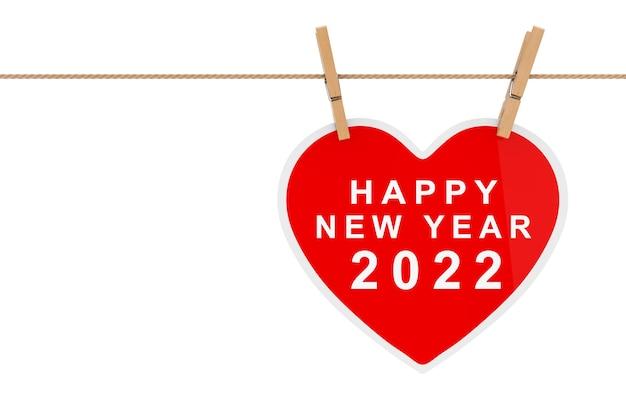 흰색 바탕에 밧줄에 매달려 있는 해피 뉴 2022년 기호가 있는 빨간 종이 하트. 3d 렌더링