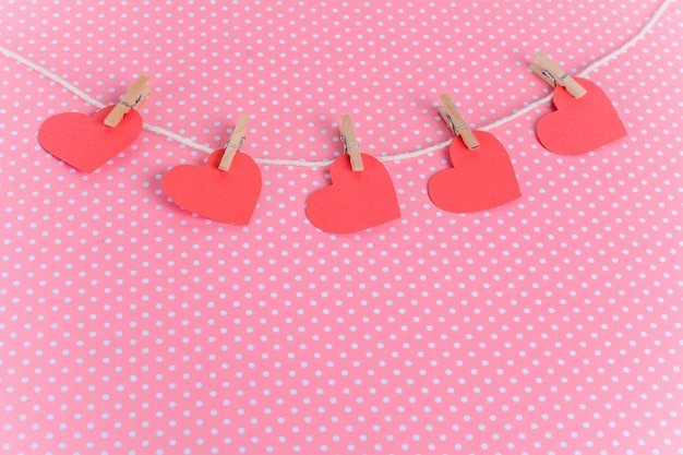 Red paper hearts. valentine's day concept.