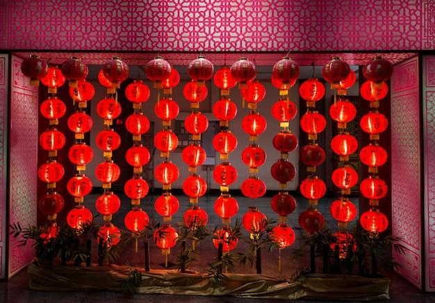 Red paper lantern at night